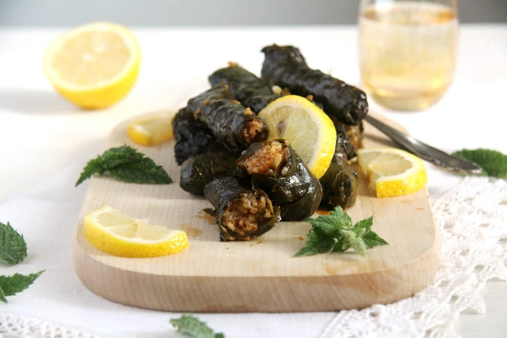 grape vine leaves Vegan Rice Cabbage Rolls with Sauerkraut