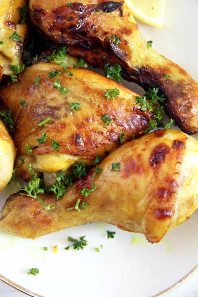 turmeric chicken baked 683x1024 Turmeric Chicken Legs with a Garlic Honey Glaze