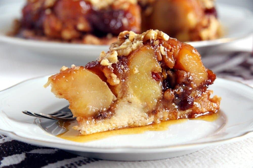 apple caramel cake slice Apple Caramel Cake with Whole Baked Apples