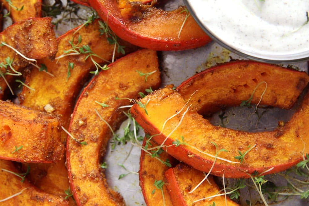 roasted pumpkin yogurt dip Spicy Roasted Pumpkin Wedges   Simple and Delicious