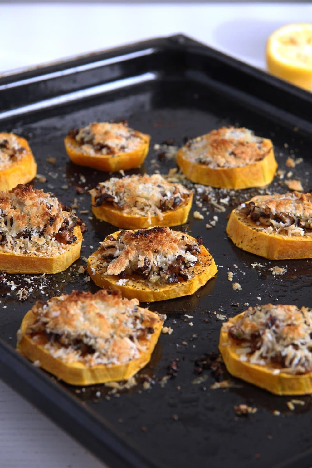 squash slices cheese Baked Butternut Squash Parmesan Slices
