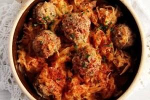 sauerkraut meatball romania 300x200 Simple Stewed Cabbage   Romanian Vegan Recipe