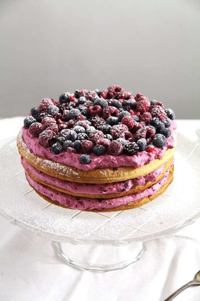 berry cake pink 683x1024 Easy Puff Pastry Cake with Berries and Cream