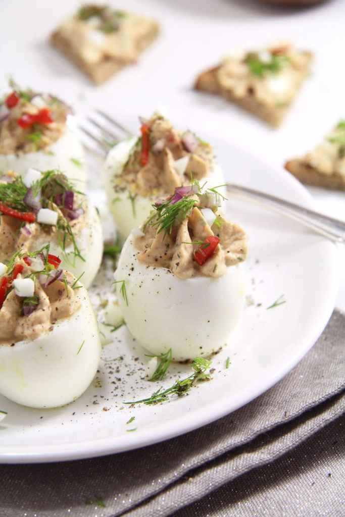 deviled eggs capers 683x1024 Deviled Eggs with Tuna and Mayonnaise