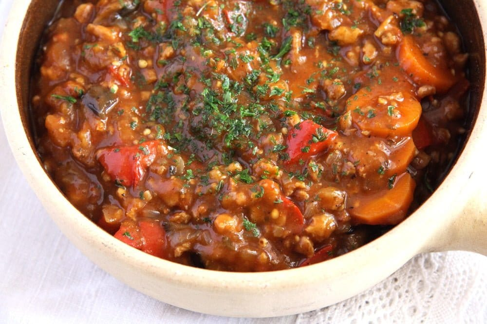 soy goulash Vegan Soy Granules Vegetable Stew with Wine