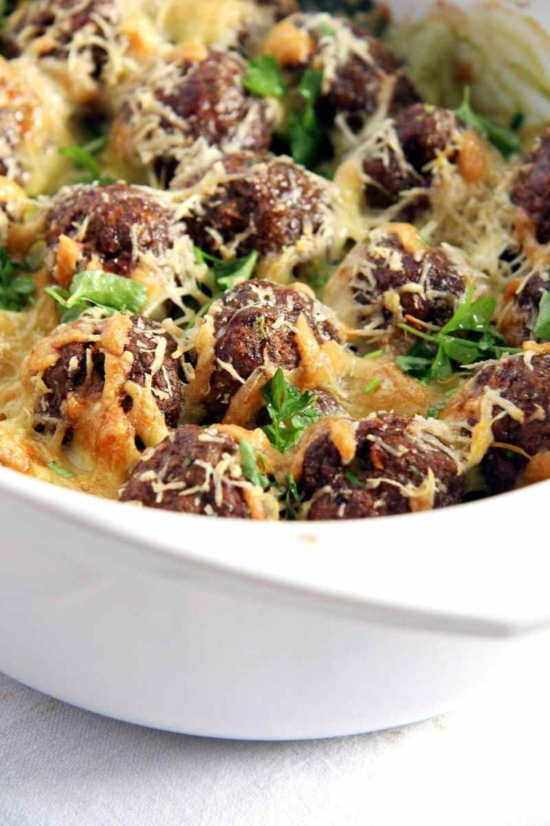 Spinach Meatball Potato Casserole