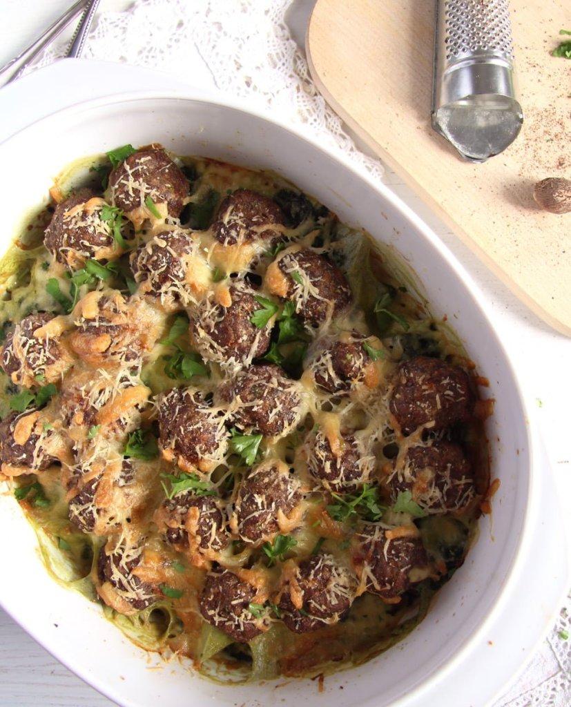 spinach casserolle 827x1024 Cheesy Spinach Meatball Potato Casserole