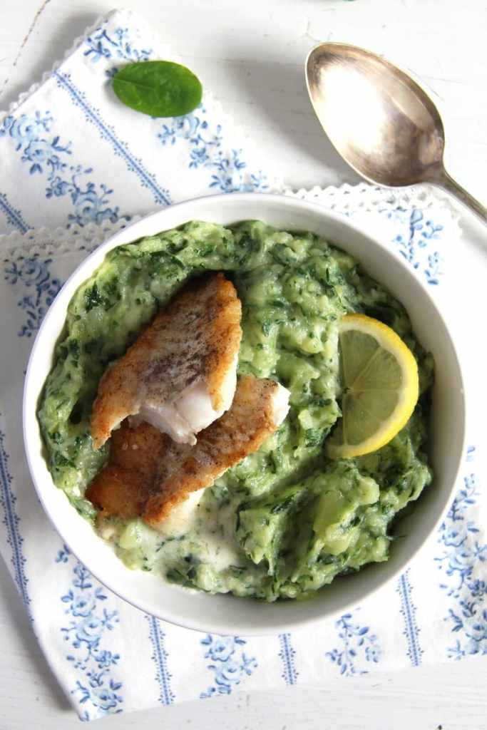 spinach potato 683x1024 Creamy Spinach Potato Mash with Fish