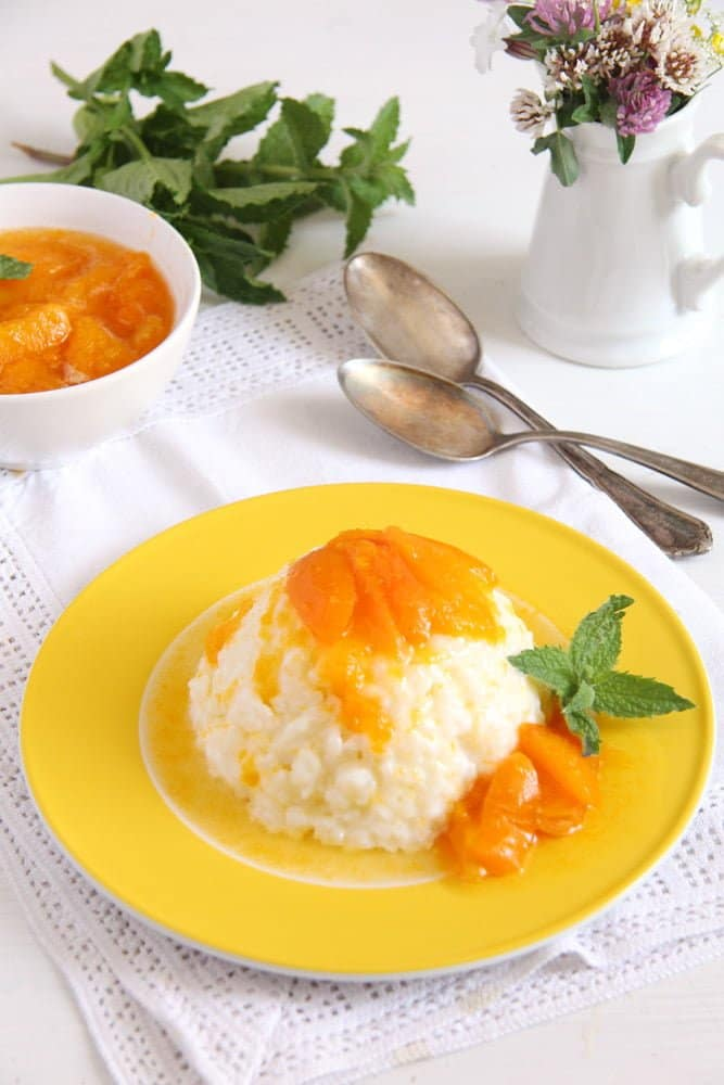 rice apricot milk Rice Pudding with Homemade Apricot Sauce