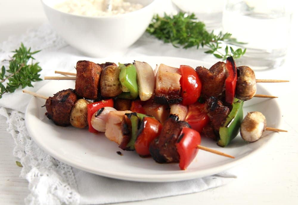 Grilled Pork, Ham and Vegetables Skewers