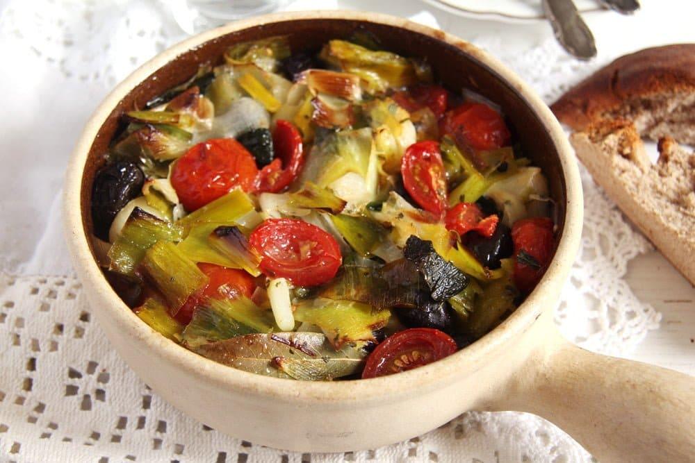Leek and Black Olive Stew