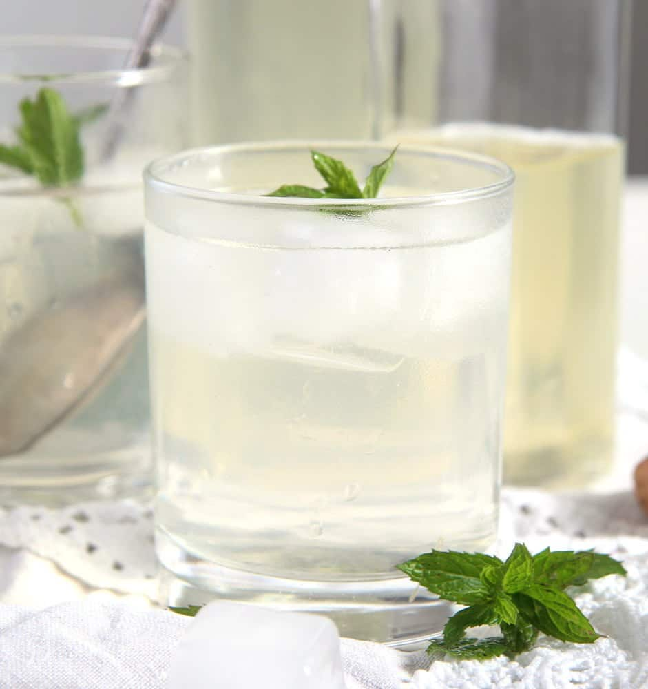 mint syrup with water and ice
