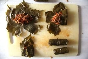 vine leaves how to 300x200 Vegan Stuffed Vine Leaves with Rice and Mushrooms