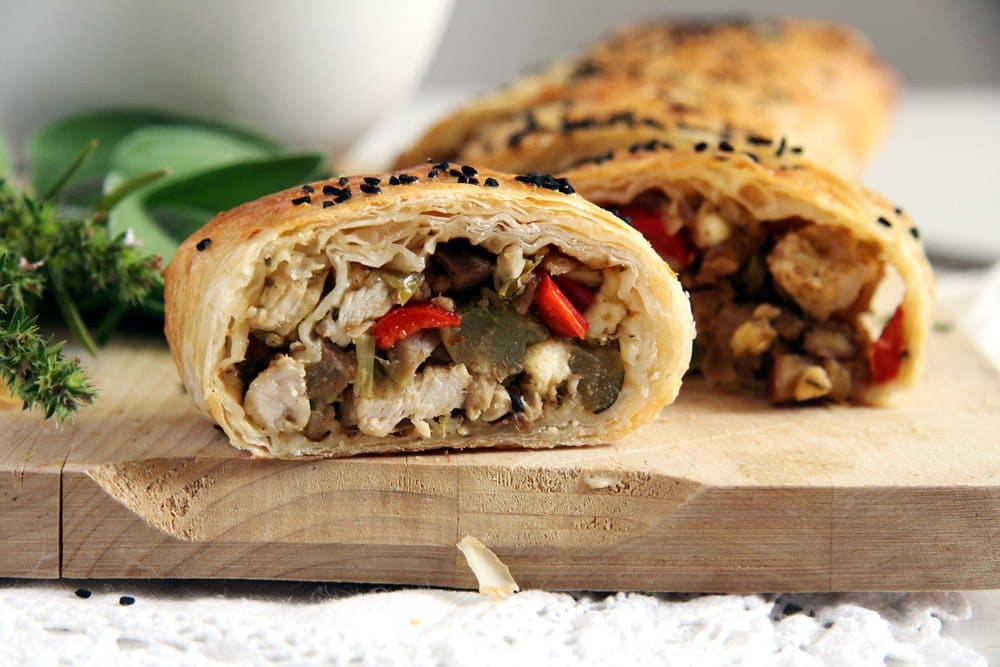 yufka filo roll with turkey, chestnuts and vegetables