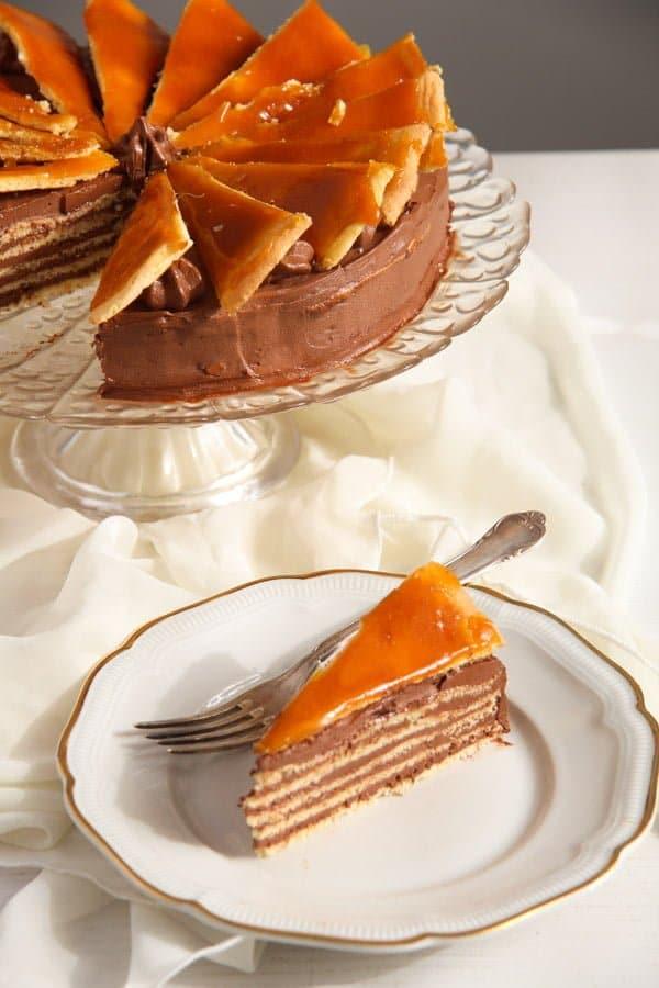 Dobos Torte Edited 3 Dobos Torte – Hungarian Cake with Chocolate Buttercream and Caramel