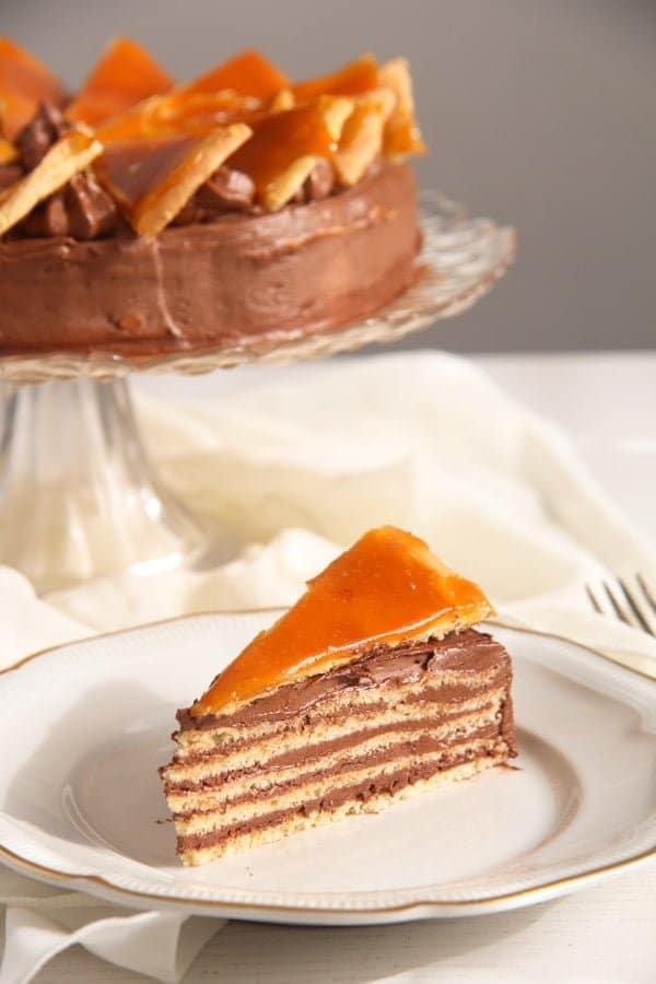 Dobos Torte Edited 5 Dobos Torte – Hungarian Cake with Chocolate Buttercream and Caramel