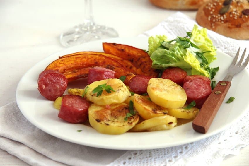 Roasted Potatoes Pumpkin and Sausage Sheet Pan Dinner