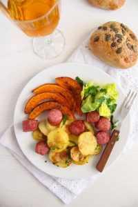 %name Roasted Potatoes Pumpkin and Sausage Sheet Pan Dinner