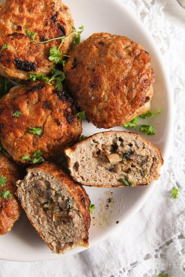 mushroom stuffed meatballs 2 Skillet Mushroom Stuffed Meatballs with Herbs – Polish Recipe