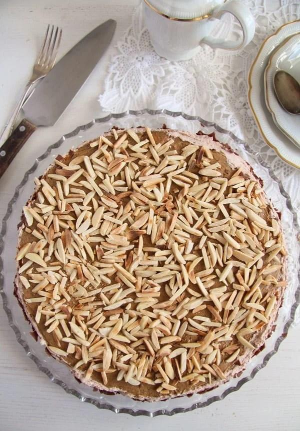 polish almond cake 3 Almond Cake with Coffee Caramel Buttercream – Polish Tort Migdalowy