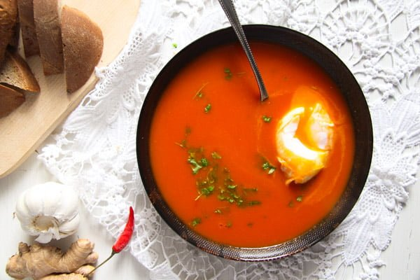 Spicy Tomato Ginger Soup with Poached Eggs