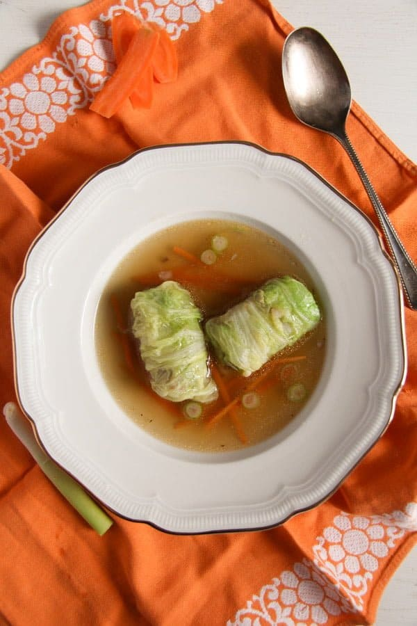 cabbage rolls asian 1 Asian Stuffed Napa Cabbage Leaves in Chicken Ginger Broth