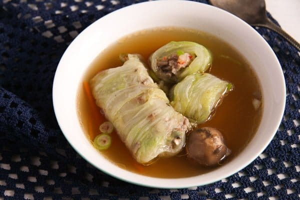 Asian Stuffed Cabbage Leaves in Chicken Ginger Broth