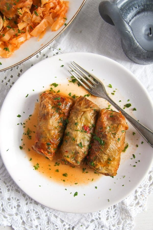 cabbage rolls rice 1 Vegan Sauerkraut Rolls with Rice, Walnuts and Raisins