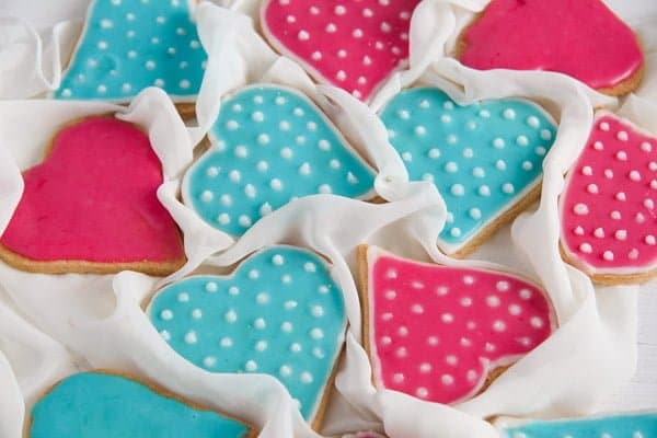 Easy Heart-Shaped Butter Cookies with Flood Icing