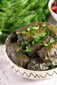 %name Stuffed Vine Leaves with Ricotta, Rice and Herb Filling