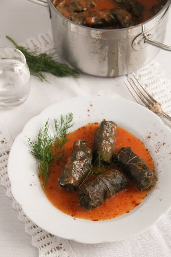 vine leaves meat 1 Stuffed Vine Leaves with Ground Meat and Rice