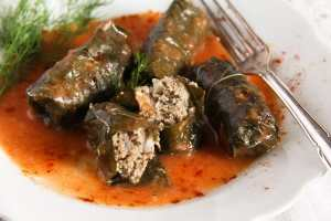%name Stuffed Vine Leaves with Ground Meat and Rice