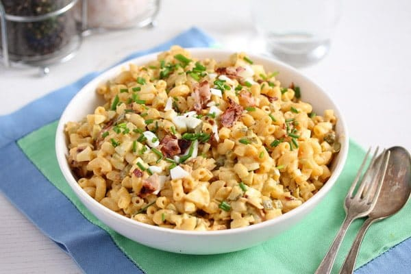 creamy deviled egg pasta salad with bacon � eggs recipes