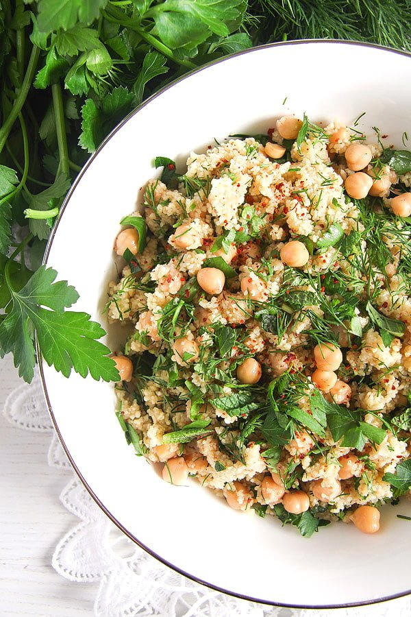 herbed bulgur 2 Vegan Bulgur Wheat Salad with Chickpeas and Herbs