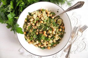 %name Vegan Bulgur Wheat Salad with Chickpeas and Herbs