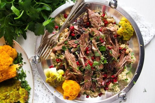 Slow-Cooked Shoulder of Lamb with Mint Pomegranate Yogurt
