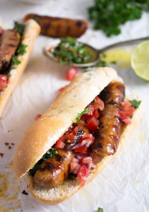 choripan with chimichurri 2 Choripán – Chorizo and Chimichurri Sandwich – Uruguayan Food