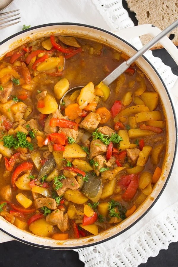 pork stew 5 Easy Pork Stew Recipe – Hungarian Goulash with Pork and Potatoes