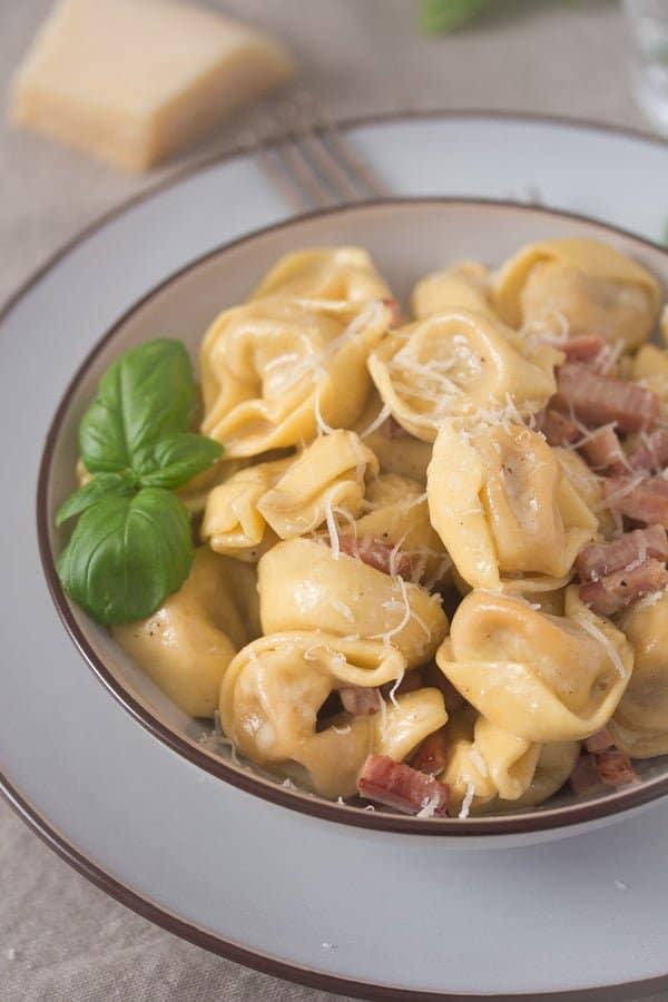 tortellini in cream sauce 7 Cheese Tortellini in Cream Sauce with Ham and Basil