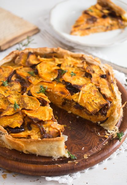 sweet potato pie 7 Puff Pastry Pie with Roasted Sweet Potatoes and Balsamic Onions