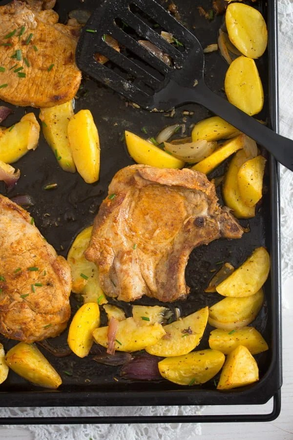 baked pork chops potatoes 8 Oven Roasted Pork Chops with Potatoes – Easy Sheet Pan Meal