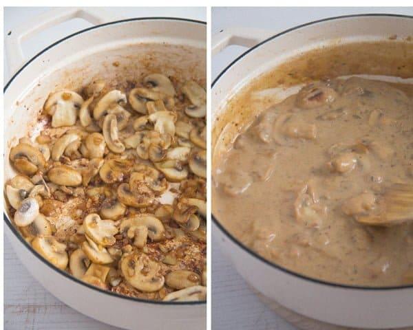 chicken mushrooms 1 Chicken in a Creamy Mushroom Sauce with Garlic and Parmesan