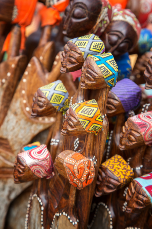 Souvenirs at a local market in Tanzania