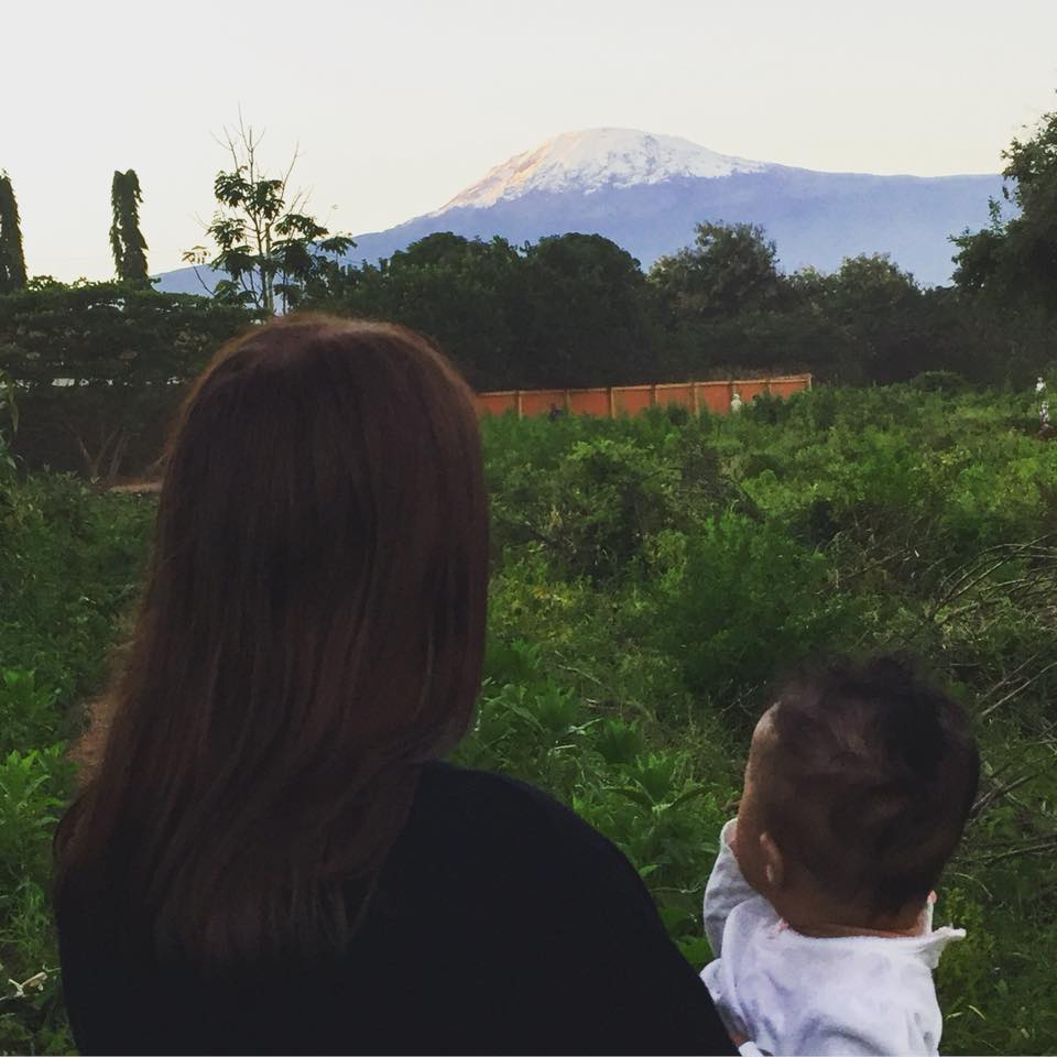 Amelie's first sighting of Mount Kilimanjaro