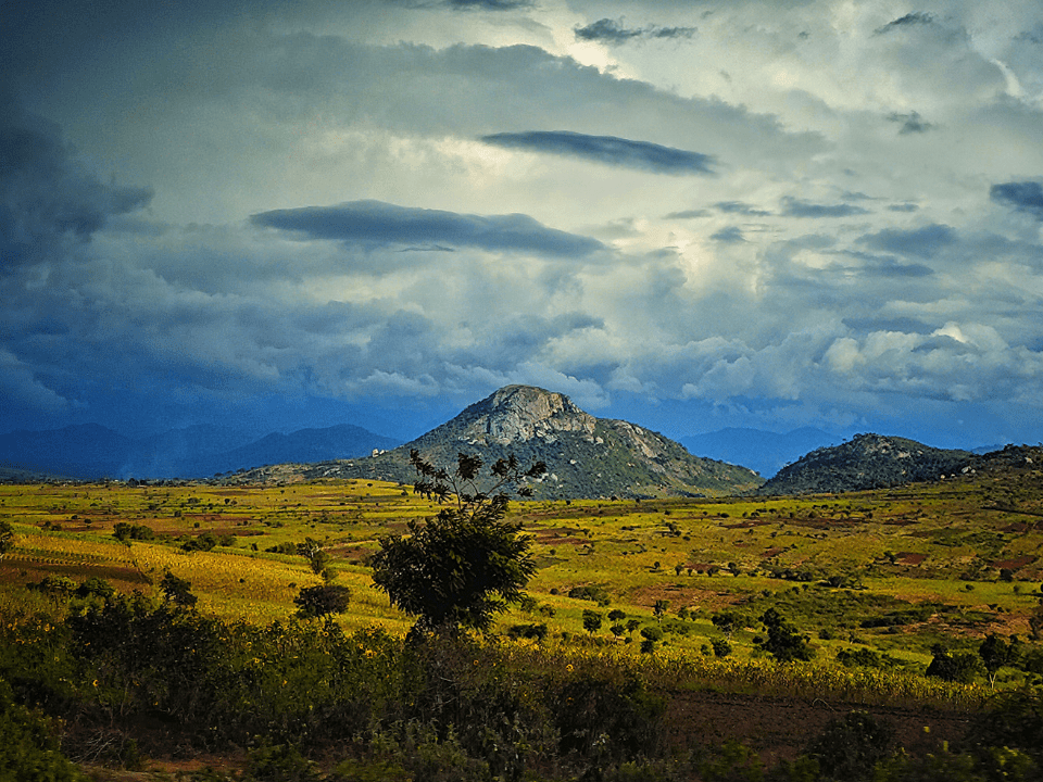 Rolling farmland and mountains in rural Dodoma