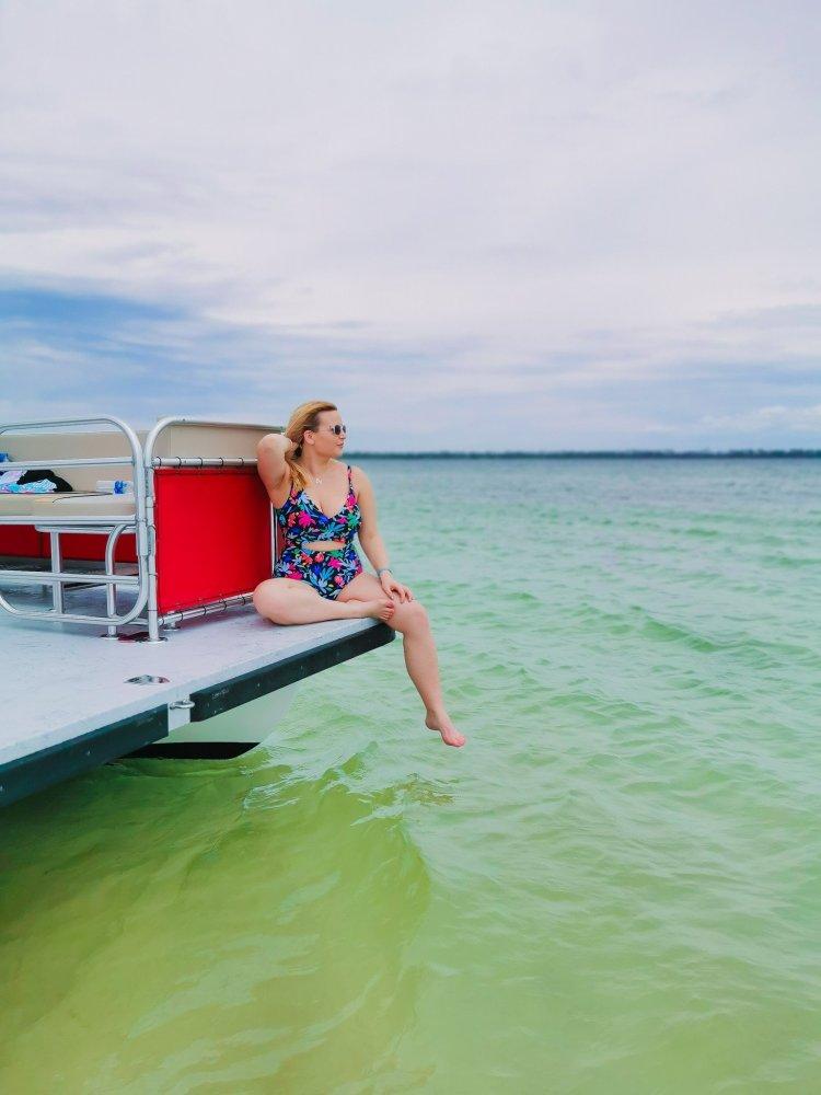 Shell Island Panama City Beach Florida pontoon boat sea Gulf Stream