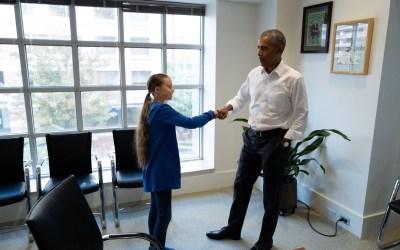 Former president Obama met climate activist Greta Thunberg