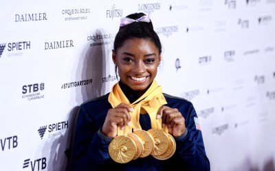 Simone Biles set the record for most world championship medals by a gymnast