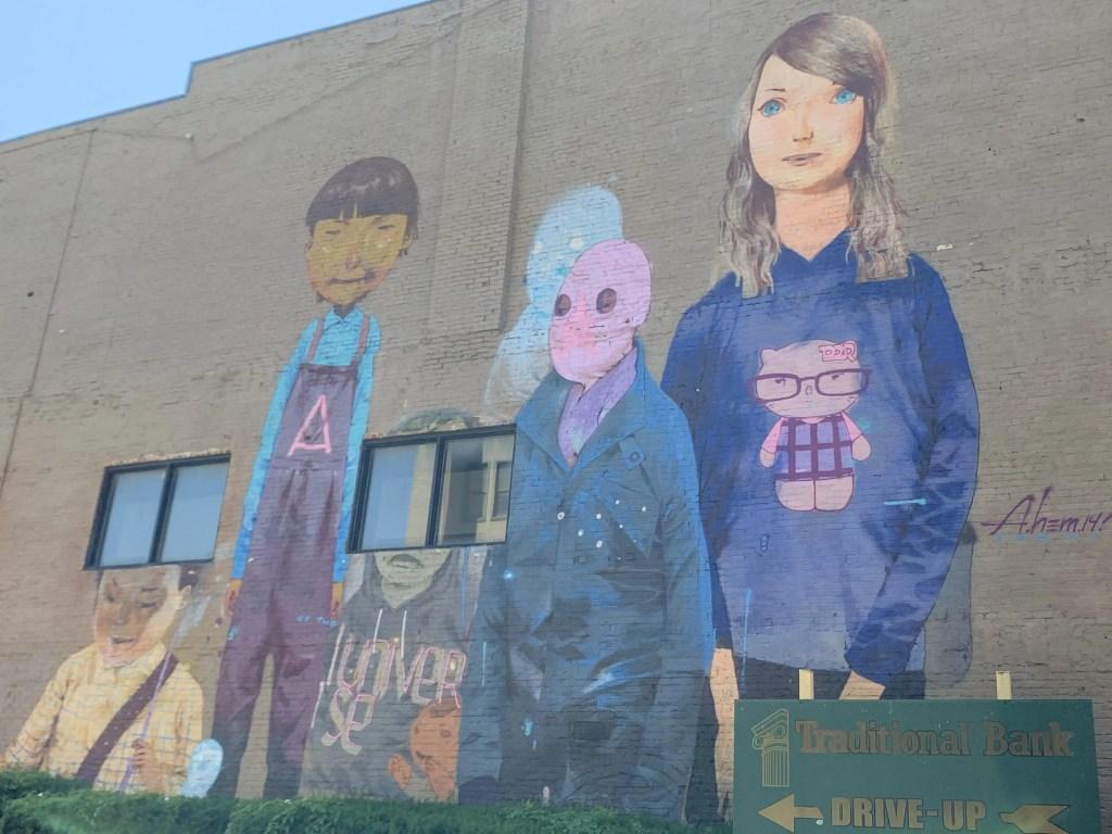 The Night Watchers street mural in Lexington, Kentucky