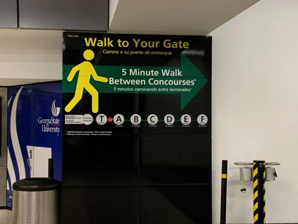 walking between concourses at Atlanta Airport
